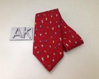 Bvlgari Neckties Repeat Flag Castle Shield Design Davide Pizzigoni Designer on Red Colour Silk Necktie