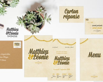 Announcements wedding and stationery Guinguette vintage - black & mustard