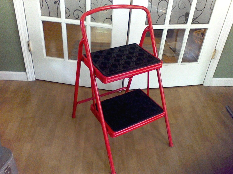 Folding Kitchen Step Stool Kitchen Chair Ladder Red