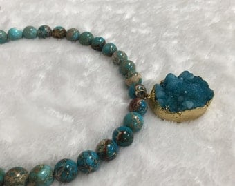Drusy Agate Pendant Gold Leafed Blue Sky Color one piece