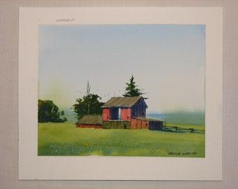 Barn watercolor painting, barn painting, landscape watercolor, original watercolor painting, farm, field, #32