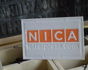 100pcs Letterpress business cards, on 600gsm cotton paper with deep details.