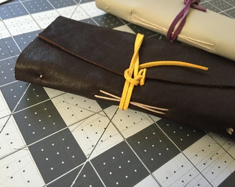 Hand made made to order 3 x 6 inch leather journal/notebook, variety of paper options and colors!