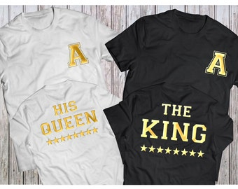 The KING His QUEEN , King Queen Couples Shirt Set , King Queen shirts, King Queen GOLD