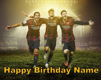 Messi Neymar Suarez Soccer Edible Image Cake Topper Personalized Birthday 1/4 Sheet