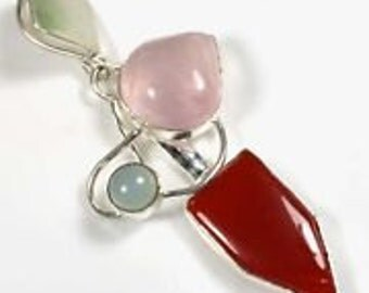 Cornelia and Rose Quartz Pendant with silver plate