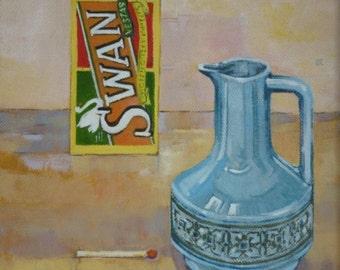Hornsea, Swan - still-life painting in oil