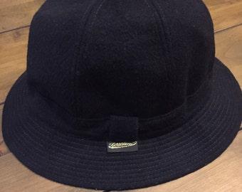 Borsalino navy blue wool alpaca mohair bucket hat size 7-1/2, XL 61 VINTAGE AMAZINGNESS