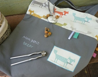tote bag grey with blue Fox for adult and child