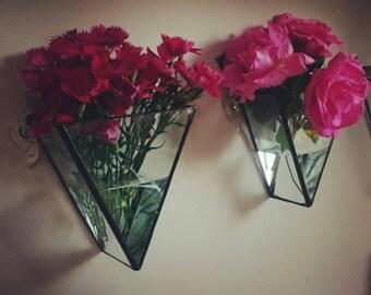 Vase/Minimalist wedding Present/new house gift/Geometric Stainedglass wall vase/flower vase/wallart/airplant container/fairy lights
