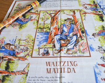Waltzing Matilda 1960s Tablecloth from Australia