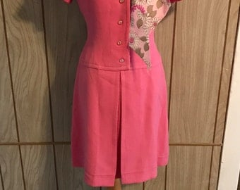 Vintage bubble gum pink metal zipper SUE BRETT DRESS - s/m
