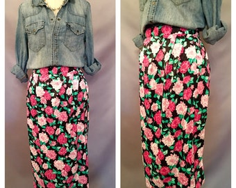 SALE!!!! Vintage Pink Floral Faux Wrap Pencil Skirt