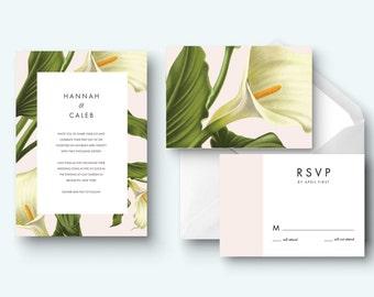Calla Lily Printable Wedding Invitation Kit Design, Custom Wedding  Invitation Set, Wedding Rsvp Card