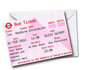 Gardia Design Pack of 20 Personalised Bus Ticket Themed Wedding Invitations