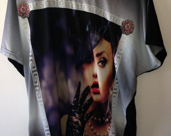 "model # 03 great women's tunic top ""tattoo"",sizes-S,M,L"