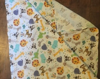 XL receiving blanket, swaddle blanket, jungle animals
