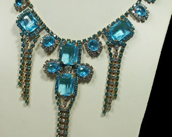 Czech, Turquoise Rhinestone & Diamante Regal Necklace (2455)