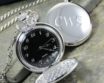 Chrome Pocket Watch - Free Personalization - GS2856B
