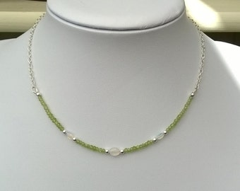 New - Peridot, opal and sterling silver necklace