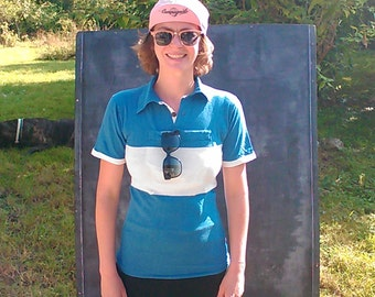 Retro cycling Jersey blue and white years 40 / 50