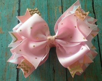 Pink and gold hair bow, stacked hair bow, girls hair bow, pink, gold, boutique hair bow