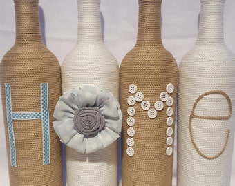 Decorated Wine Bottles - Set of 4 'HOME', upcycled wine bottles, chic home decor, tan and white wine bottle decor