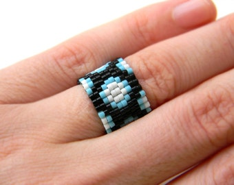 Wide beaded ring Peyote ring Seed bead jewelry Modern ring design Colorful handmade ring Beaded jewelry Seed bead ring Band ring for her