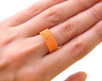 Simple band ring Orange ring Orange beaded ring Everyday wear ring Minimalist ring Seed bead jewelry Orange peyote ring Cute womens ring