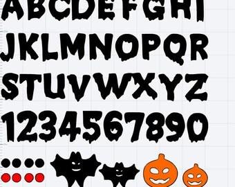 Halloween Alphabet w/ Numbers and Extras SVG, EPS, DXF, Studio3, Studio 3