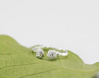 flower ring, rose ring, rose flower ring, sterling silver flower ring, rose twisted ring, two flowers ring, rose flower ring, twisted ring