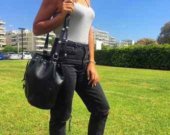 Leather Tote Bag, Shoulder Bag, Bucket Bag, Handbag, Shoulder Bag, Crossbody Bag from Full Grain Leather with Silver Studs, Made in Greece.