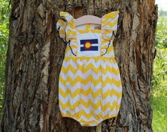 Yellow Chevron Colorado Bubble Romper