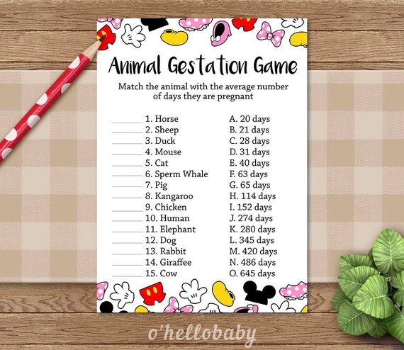 Animal Gestation Baby Shower Game Disney Theme Baby By