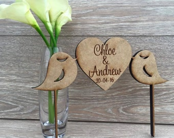 Wedding Cake Topper | Custom Cake Topper | Personalised Cake Topper | Rustic Wedding Cake Topper |  Love Birds