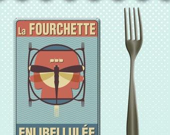 "Plate metal enameled way ""fork enlibellulee"" vintage spirit."