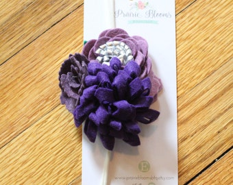 Hydrangea Wool Felt Flower headband,  Felt Flower headband, Wool Felt Flowers, Floral headband, Wool Felt Floral headband, nylon headband