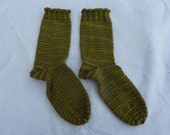 Hand Knitted Thick Socks in hand dyed double knitting yarn, green and brown