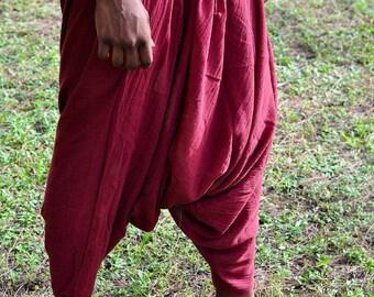 Maroon Harem Pants, Baggy Pants, One size fits all, Drop Crotch, Harem Pants, Hand Made Pants, Music Festival Clothes, Yoga Pants, Dark Red
