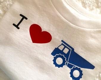 Toddler boy I love trucks dumptruck shirt tshirt
