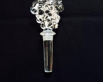 Vintage Clear Crystal Glass Grape Cluster Design Bottle Decanter Stopper