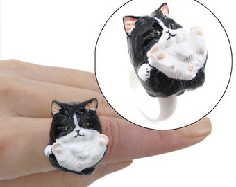 Handmade 3D Kitty Rings (C: Black Persian)