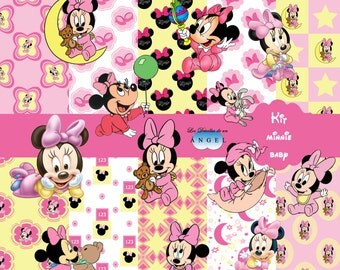 Papers digital party Minnie Kit baby / Minnie baby Digital Papers Clipart