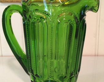 Vintage L. E. Smith Heritage Moon and Stars Green Glass Pitcher Collectable Beversge Decor Holiday Dining Decor