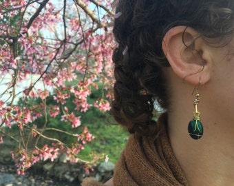 Deep Turquoise + Charcoal Stone Duo Earring