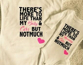 Matching mommy and daughter shirt and onesie set, newborn custom