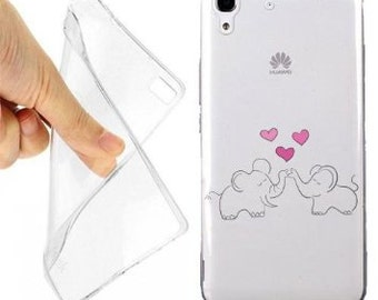 Case cover elephants in love for huawei y6 transparent