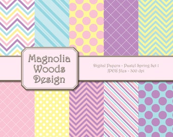 Spring Digital Paper Pack, Pastel Digital Background, Easter Paper Pack, Spring Colors Digital Papers, Small Commercial Use Paper Pack