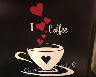 Keurig Coffee Maker Decal, I love Coffee, Coffee decal, Keurig, Coffee