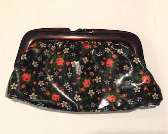 Cosmetic Floral Bag - Make Up bag - Vinyl Bag - Lucite
